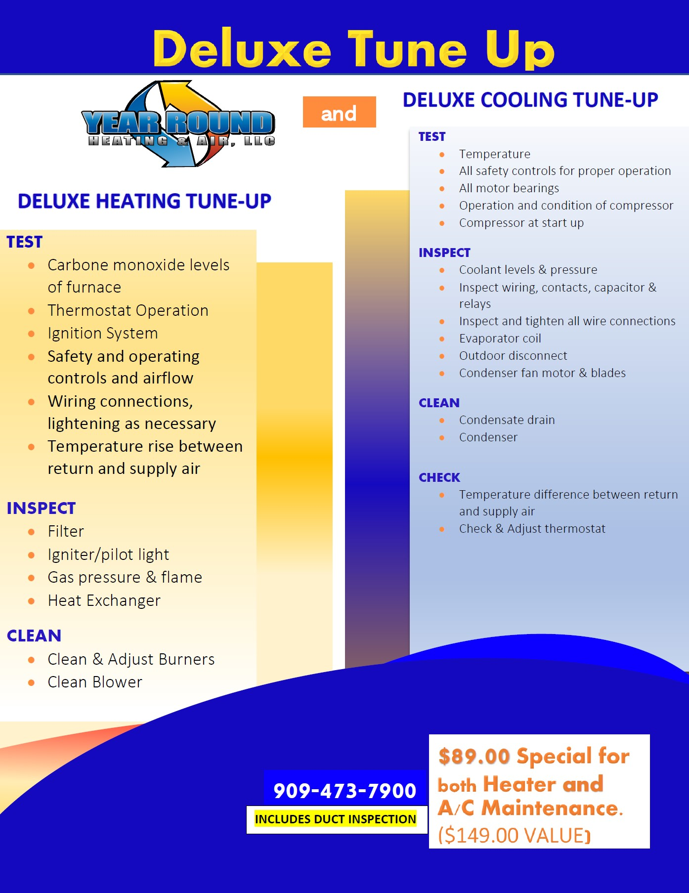 Heating & Cooling Tune-Up Info $59